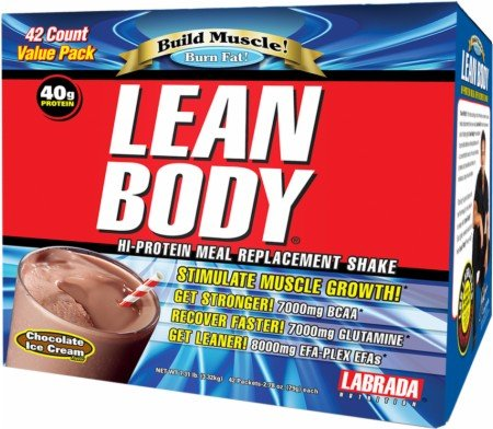 Labrada Lean Body Protein Meal Replacement Shake Chocolate Ice Cream -- 20 Packets by Labrada