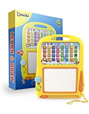 Tablet de Aprendizaje en Inglés de Boxiki Kids + Pad Magnético para Dibujar por Juguetes Musicales para Niños. Aprende Números, Aprende el ABC, Juegos de Deletreo, Tonos Musicales