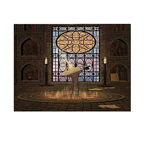 Gothic Photography Background,Lectern on Pentagram Symbol Medieval Architecture Candlelight in Dark Spell Altar Backdrop for Studio,7x5ft]()
