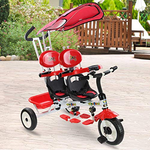 (Costzon 4 in 1 Twins Kids Trike Baby Toddler Tricycle Safety Double Rotatable Seat w/Basket (Tandem Tricycle, Red))
