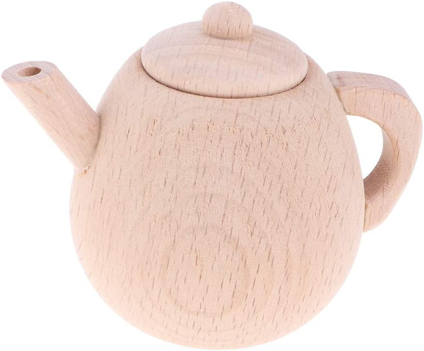 Non-toxic Natural Wood Material Tea Kettle Kids Pretend Play Wooden Tableware Set Spoons and Forks Includes Cups