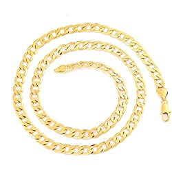 Mens 24k Gold Plated Cuban Link Curb Chain Necklace (chain length 60cm,width 4mm)