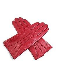 The Leather Emporium Women's Gloves Fur Lined Stripe Detail Slim Fit