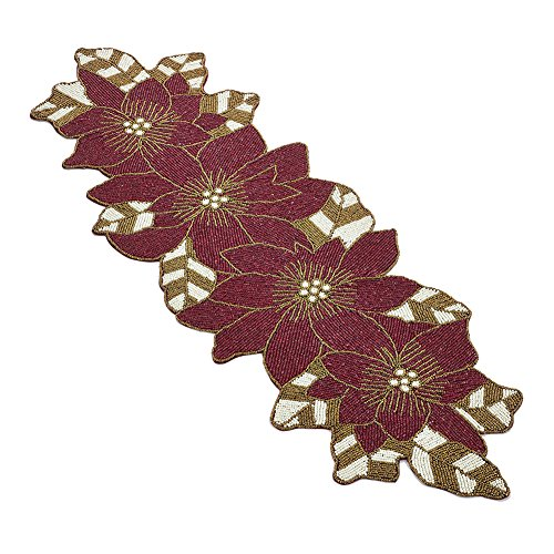 Occasion Gallery Red & White Beaded Christmas Holiday Poinsettia Flower Table Runner, 15