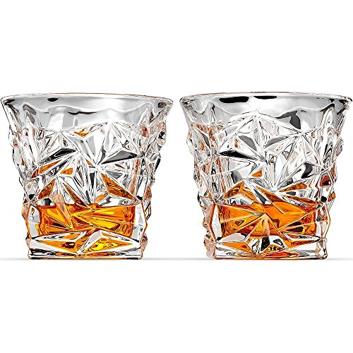 Old Fashioned Fluted (Luxury Whiskey Crystal Glass - set of 2 - Old Fashioned Vintage Rocks for Bourbon Scotch Cocktail Drinks Tumbler Glassware Gifts for Men Dad and Husband Snifter)