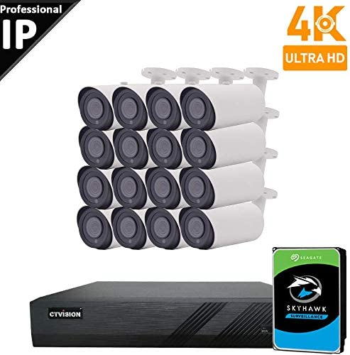 CTVISION UltraHD 4K 8MP 4X1080P Home Business Security Camera System,16-Channel PoE Video Security System 4TB ,16pc 4K Outdoor Waterproof Nightvision 4X Zoom Motorized Auto Focus Bullet PoE IP Camera