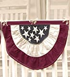 Plow & Hearth Small Americana Patriotic Bunting with Embroidered Stars, 100% Cotton Duck Fabric, Red - Ecru - Blue, 30 in W x 17 1/4 in H
