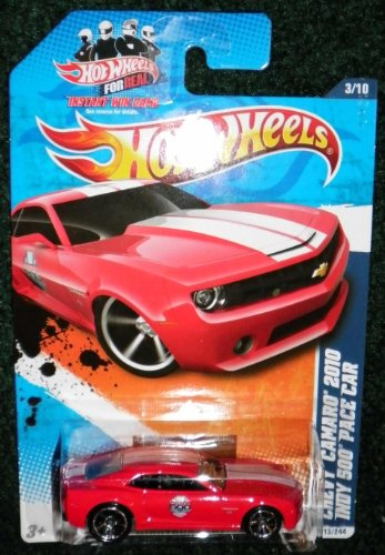 (2011 HOT WHEELS NIGHTBURNERZ 3/10 RED CHEVY CAMARO 2010 INDY 500 PACE CAR 113/244)