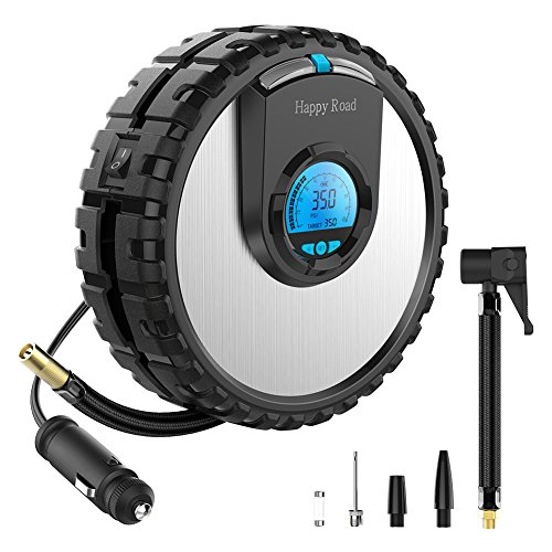 Happy Road N1 Portable Air Compressor 12V Digital Pump Auto Shut Off Preset Tire Pressure, Normal and Emergency Light for Car, Motorcycle, Bicycle, Ball, Inflatable Toys and Others