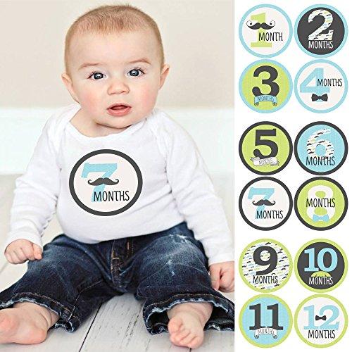 (Dashing Little Man Mustache - Baby Boy Monthly Sticker Set - Baby Shower Gift Ideas - 12 Piece)