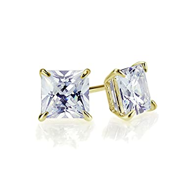 f36f1d42d Image Unavailable. Image not available for. Color: 14K Yellow Gold 5mm  Square Princess Cut Cubic Zirconia Basket Set Solitaire Safetyback Stud  Earrings
