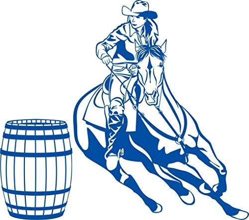 (Cowgirl Barrel Racer Racing Horse Cowboy Farm Rodeo Western Window Vinyl Decal Sticker)
