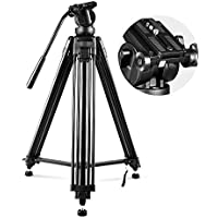 COOCHEER Professional Video Tripod, Heavy Duty Tripod System with 360 Degree Fluid Drag Video Head, 1/4 and 3/8 QR Plate and Bubble Level, Max Loading 33lbs and Height 61