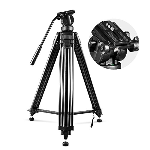 COOCHEER Professional Video Tripod, Heavy Duty Tripod System with 360 Degree Fluid Drag Video Head, 1/4'' and 3/8'' QR Plate and Bubble Level, Max Loading 33lbs and Height 61'' by COOCHEER