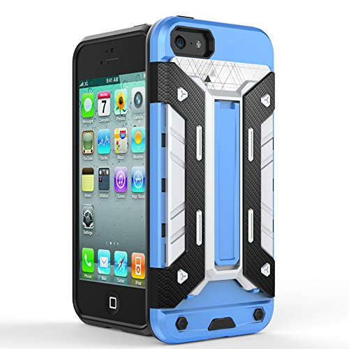 TPU/PC Shockproof Cover Case For Apple iPhone SE / 5G / 5S (Silver) - 4