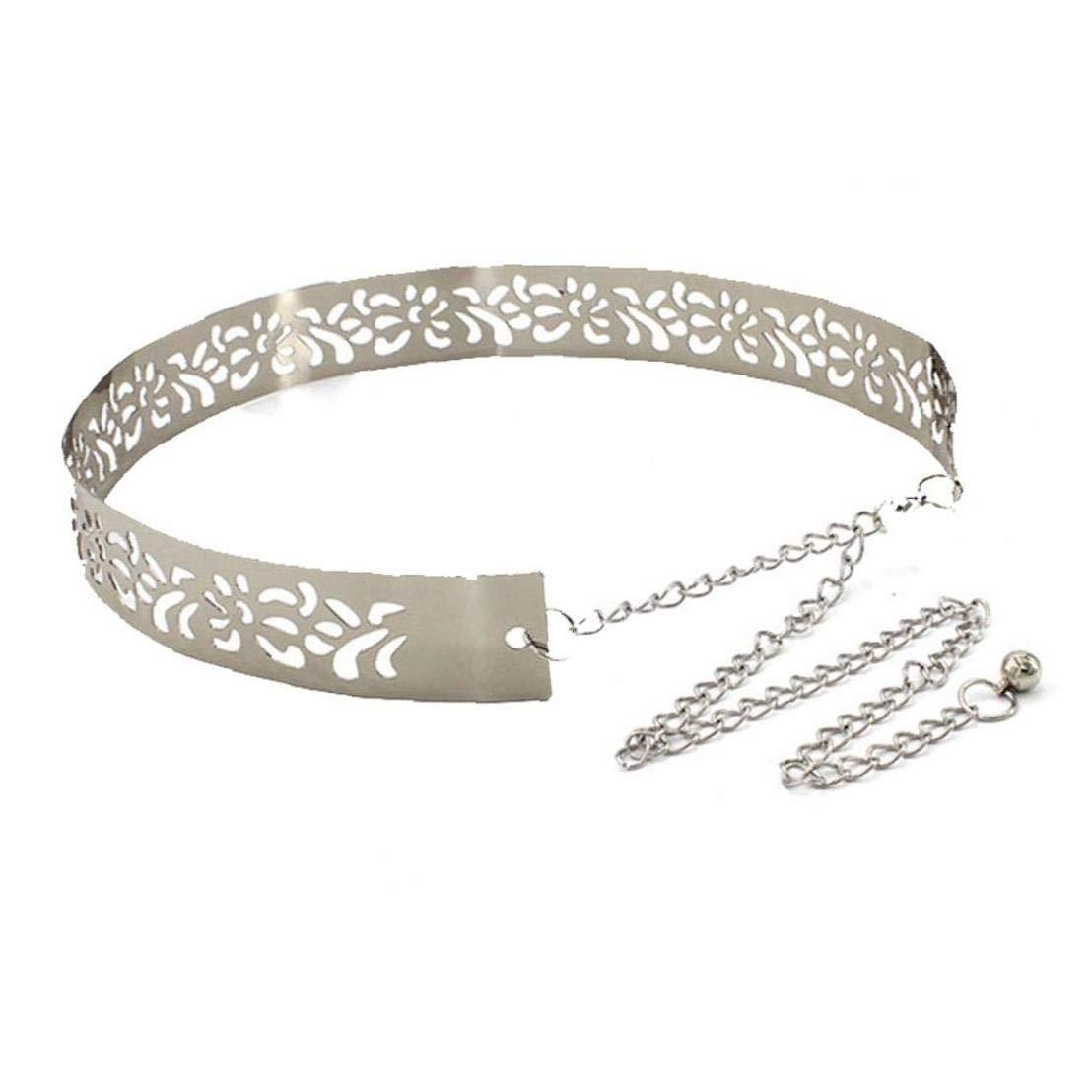 Asien Cinghia di Vita delle Donne di Metallo A Specchio Regolabile Cinghie Larghe Catena del Cinturino di Metallo per Ragazze