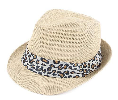 - Melesh Classic Sun Straw Summer Beach Leopard Trilby Fedora Hat (S/M, Rice-Leopard Band)
