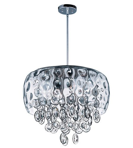 Maxim 21475WGPN Ripple 10-Light Pendant, Polished Nickel Finish, Water Glass Glass, G9 Xenon Xenon Bulb, 100W Max, Wet Safety Rating, Standard Dimmable, Glass Shade Material, 1150 Rated (Ripple Table Lamp 1 Light)