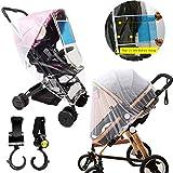 Universal Stroller Rain Cover + Stroller Mosquito Net + 2 Stroller Hooks Stroller Shield Baby Rain Cover