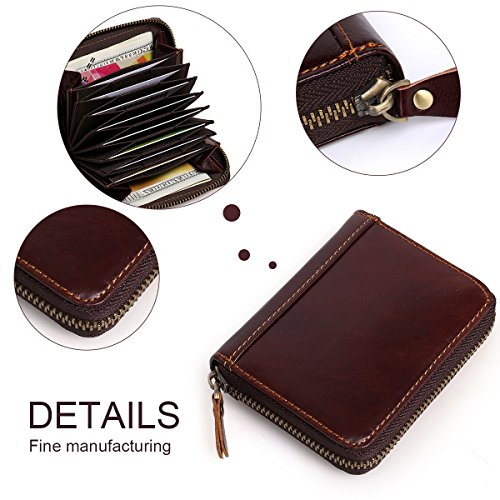 Credit Men's APHISONUK Gift Travel Wallets Card Holder Brown Box Around Accordion Holder Block Latest RFID Mini Blocking Zipper Safe Brown Leather Style RFID Wallet Security rXAAqwd