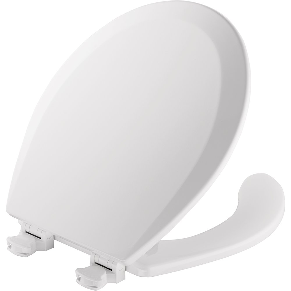 Mayfair Open Front Molded Wood Toilet Seat, Elongated, White, 1440EC 000 by Mayfair