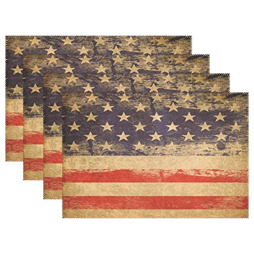 "Wamika Vintage American Flag Placemats Independence Day 4th of July Place Mats Non-Slip Washable Memorial Day Patriotic Table Mats Heat Resistant Dining Kitchen Decor 12"" X 18"" Set of 4"