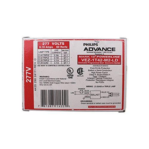 - Advance Ballast VEZ-1T42-M2-LD Dimmable Compact Fluorescent Ballast, CFL, (1) 42W, 277V