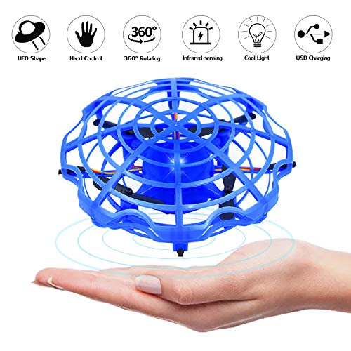 Janboo UFO Drone Mini Flying Ball Toy Gravity Motion Hand Controlled Kids Gifts Interactive Infrared Induction Toys with 360° Rotating and LED Lights Suitable for Boys and Girls
