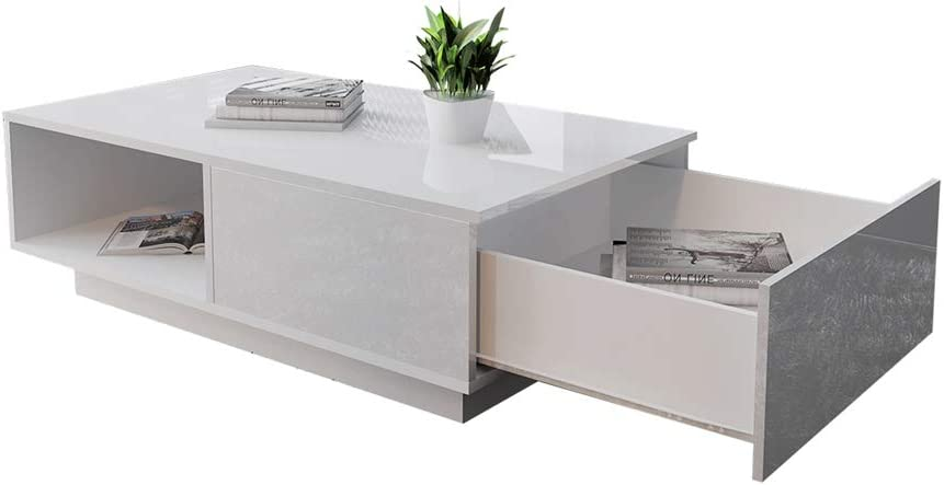 Goedkoop EBTOOLS Zwart/wit salontafel, houten tafel, koffietafel, woonkamertafel, bijzettafel, salontafel, met groot open vak en groot opbergvak voor de woonkamer, hoogglans zwart wit CBxGjx3