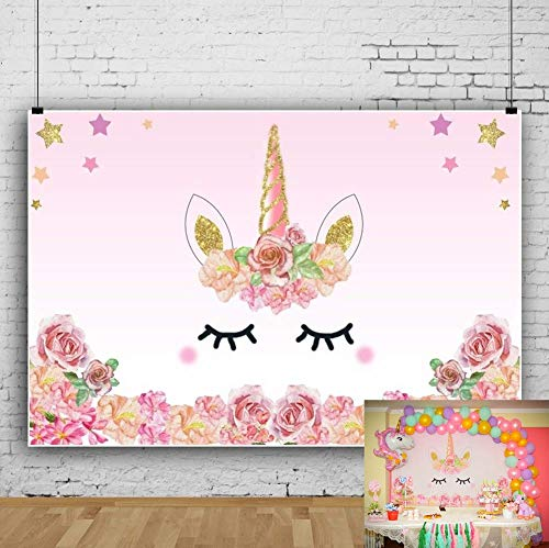 Leowefowa Vinyl 5X3FT Unicorn Backdrop Baby Shower Girls Birthday Party Backdrops for Photography Cake Smash Candy Table Background Twinkle Stars Flowers Princess Girls Room Wallpaper Studio Props