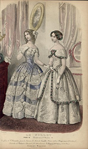 Le Follet Wedding Dresses Style Fashion Print 1850 hand colored ()
