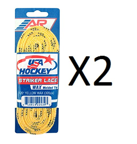 - New A&R 2 Pack USA Ice Hockey Striker Wax WAXED Molded Tip Skate Laces 72