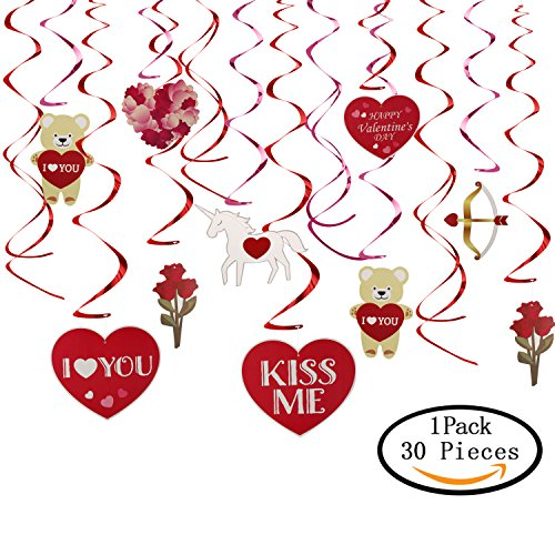 Cupid Bear (30 Pcs Valentine's Day Foil Swirl Decoration, KissDate Cute Bear Hearts Rose and Cupid's arrow, Perfect for Hanging Ceiling Window Wall Engagement Wedding Party Decor Supplies)