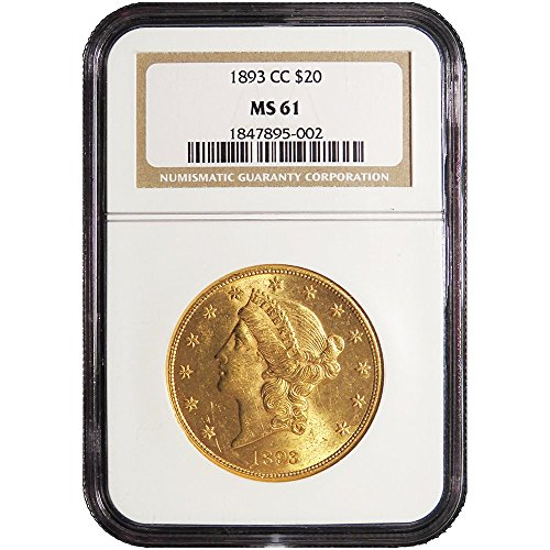 Head Double Eagle Gold Coin - 1893 CC $20 Gold Liberty Head Double Eagle $20 MS61 NGC