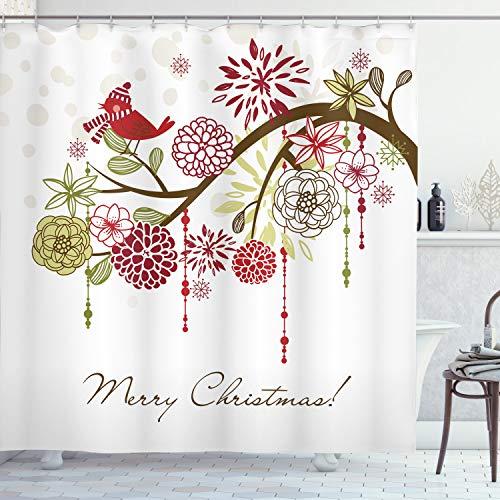 Ambesonne Christmas Shower Curtain, Cloth Fabric Bathroom Decor Set with Hooks, Hat Scarf Tree, 70 Long