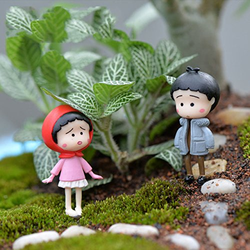 Miniature Decoration - 4 Pieces Mini Kawaii Chinese Kids Figurine Resin Craft DIY Crafts Mix Resina Miniature Garden Decorations Moss Terrarium Supplies