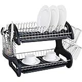 Caliybrid 2 Tiers Dish Drying Drainer Drying Rack, Multifunctional Metal Dish Mug Kitchen Storage Rack