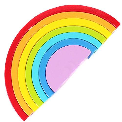 SODIAL Colorful Wooden Blocks Toys Creative Rainbow Assembling Blocks Infant Children Educational Baby Unisex Toys 150205