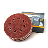 POWERTEC A/O Hook and Loop 8 Hole Disc, 5-Inch,25 PK