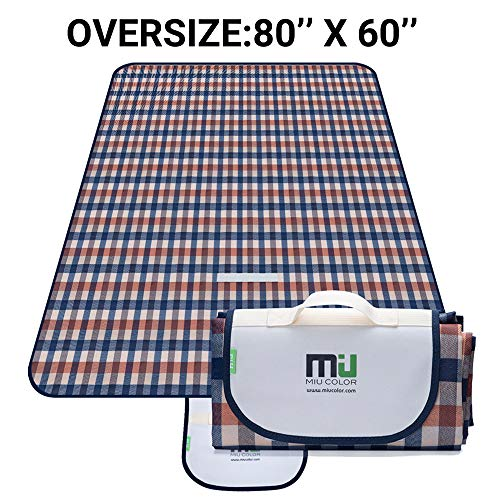(MIU COLOR Large Waterproof Outdoor Picnic Blanket, Sandproof and Waterproof Picnic Blanket Tote for Camping Hiking Grass Travelling (80'' x 60'' Orange-Blue Plaid))