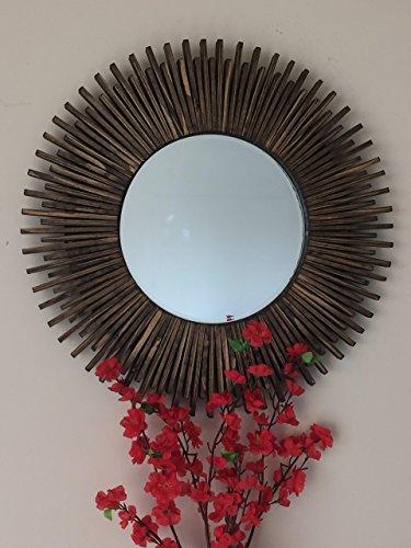 Sunburst Wall Mirror Round Handmade Wood Frame Dark Walnut 23