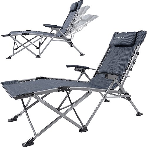 Yoler Sturdy Zero Gravity Lounge Chairs   Adjustable ArmRest Easy Open And  Fold   Outdoor Portable