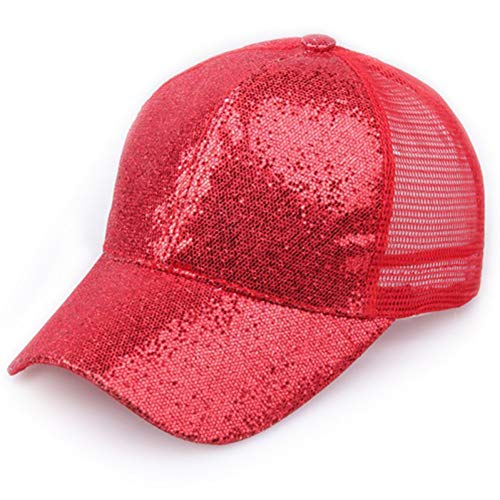 XIAOMAOMAO Summer Hip Hop Sequined Baseball Cap for Women Mesh Hat Net Cap Casquette Shining Sun Hat Adjustable Adult Fluorescent Color