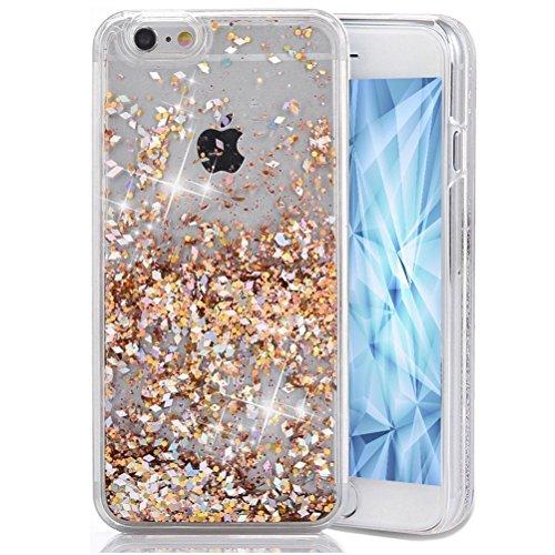 iPhone 5C Case,LEECOCO Unique Creative 3D Diamond Floating Quicksand Shiny Bling Glitter Flowing Liquid Transparent Clear Hard PC Protective Case for iPhone 5C [Diamonds] Gold (Unique Pcs)