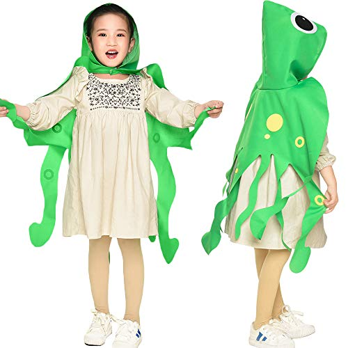 Toddler Kids Octopus Costume with Hat-Boys Girls Animal Dress Up DIY Cape Party -