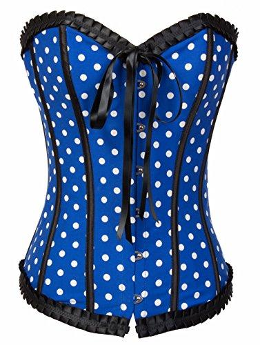 BSLINGERIE® Womens Denim Overbust Lingerie Bustier Corset (M, Blue Denim)