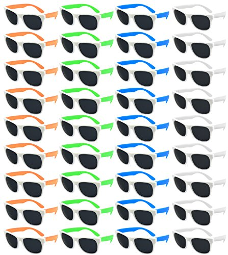 Edge I-Wear 36 Pack Neon Party Sunglasses with CPSIA Certified Lead (Pb) Content Free and UV 400 Lens 5402RWHT-36 (Made in - For Sunglasses I Women