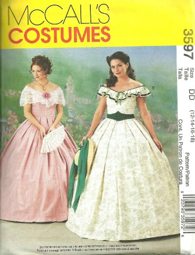 McCall's Costume Pattern No 3597 UNCUT Womens Misses Size DD 12 14 16 18 Southern Belle Scarlet O'Hara Halloween -