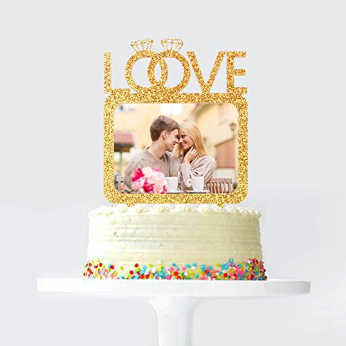 Love Double Diamond Rings Wedding Cake Topper with Photo Frame, Wedding Anniversary Engagemnet Photo Picture Cake Toppers, Party Cake Decoration