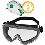 Safety Goggles Fits Over Prescription Glasses Clear Anti Fog Anti Scratch Impact/Splash Proof For Workplace - Chemistry Lab ANSI Z87.1 Approved Free Safety Masks With Respirator NIOSH N95 Included!